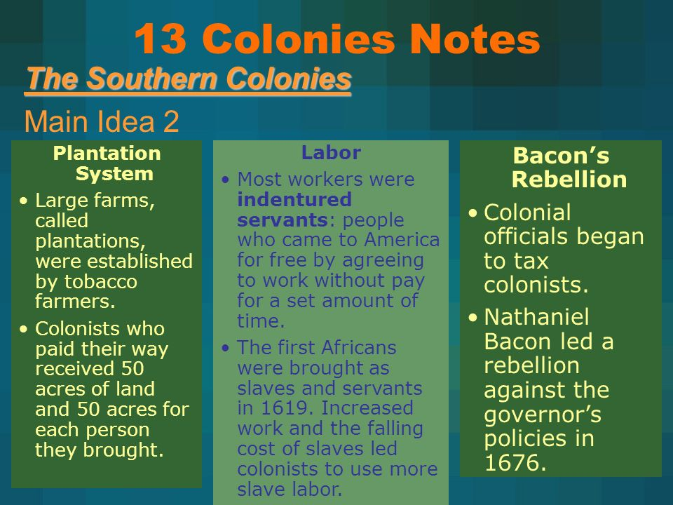 The Southern Colonies Main Idea 2