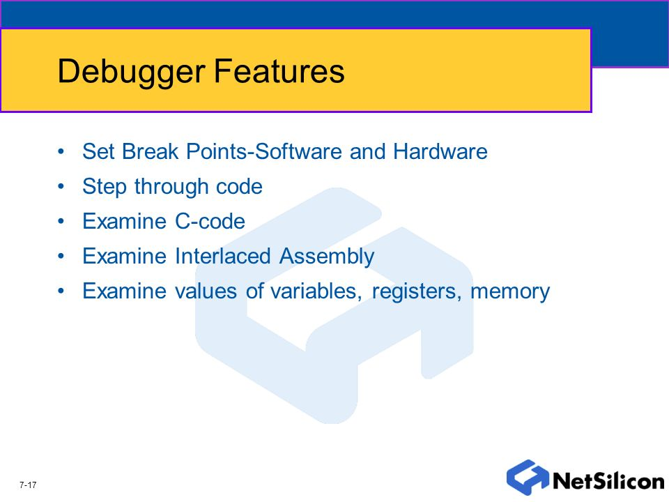 Debugger Features Set Break Points-Software and Hardware
