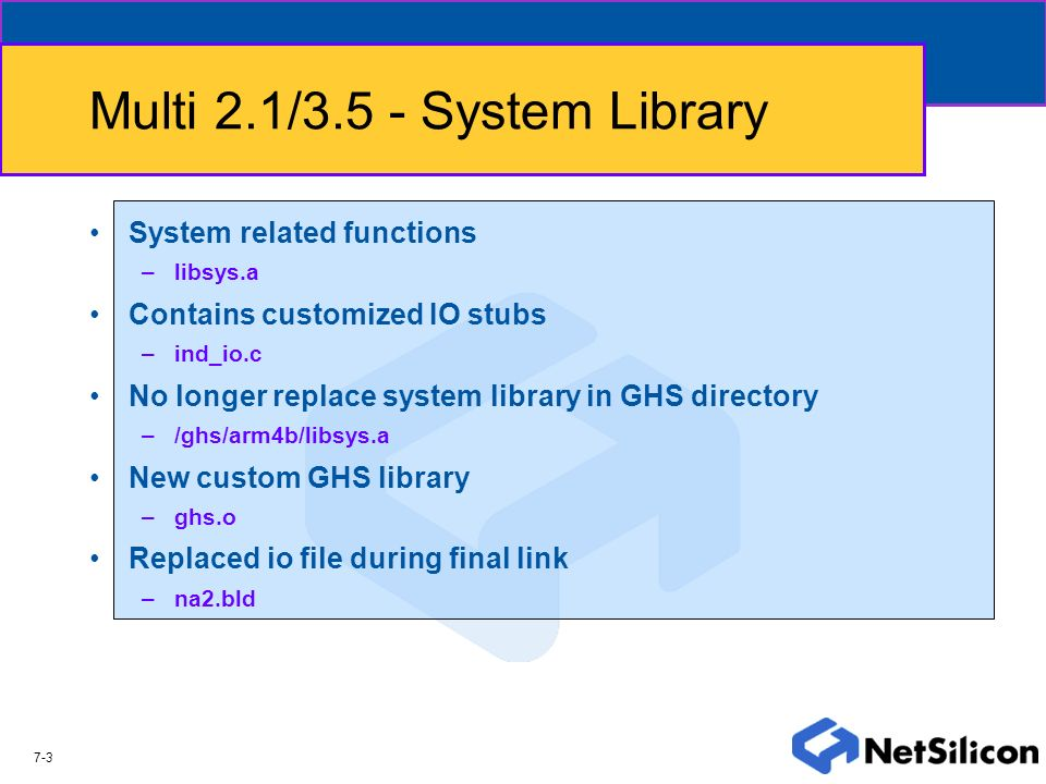 Multi 2.1/3.5 - System Library