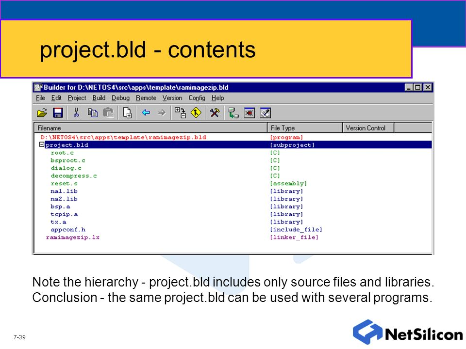 project.bld - contents Note the hierarchy - project.bld includes only source files and libraries.