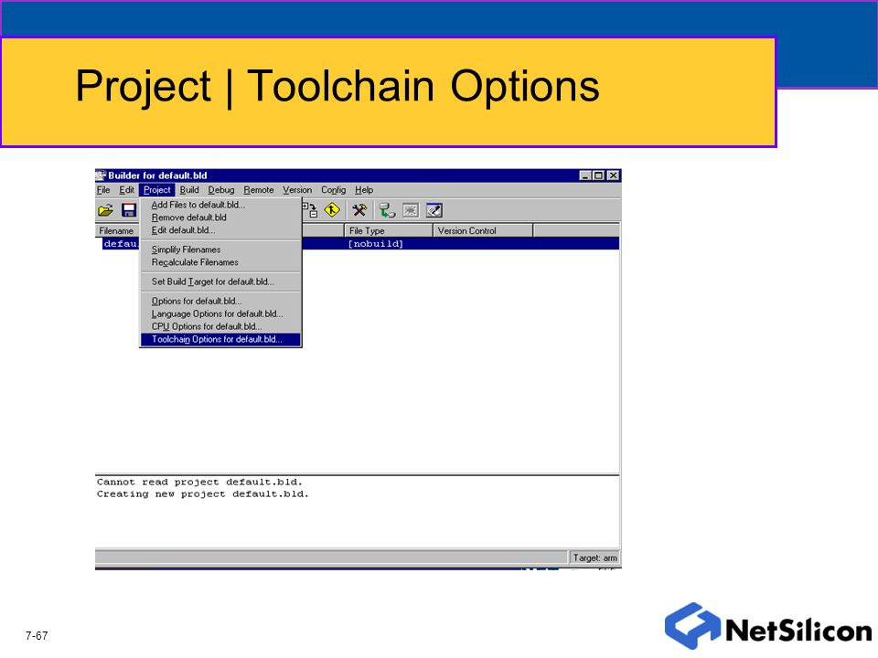 Project | Toolchain Options