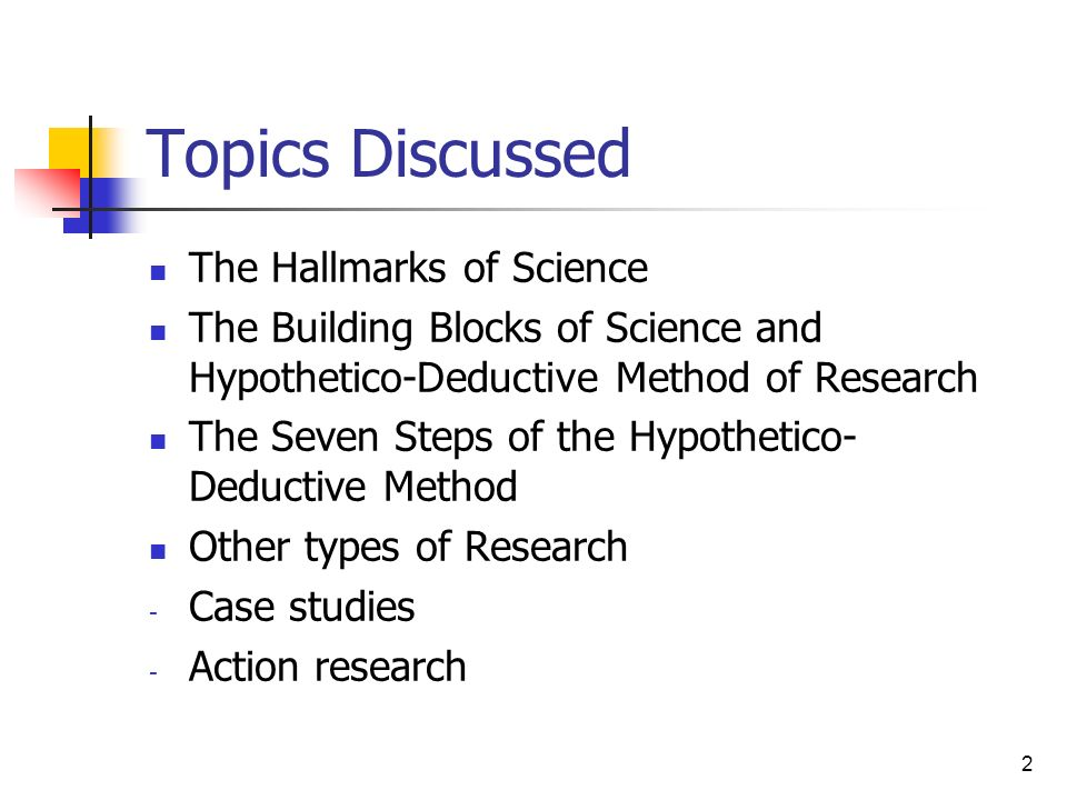 Topics Discussed The Hallmarks of Science