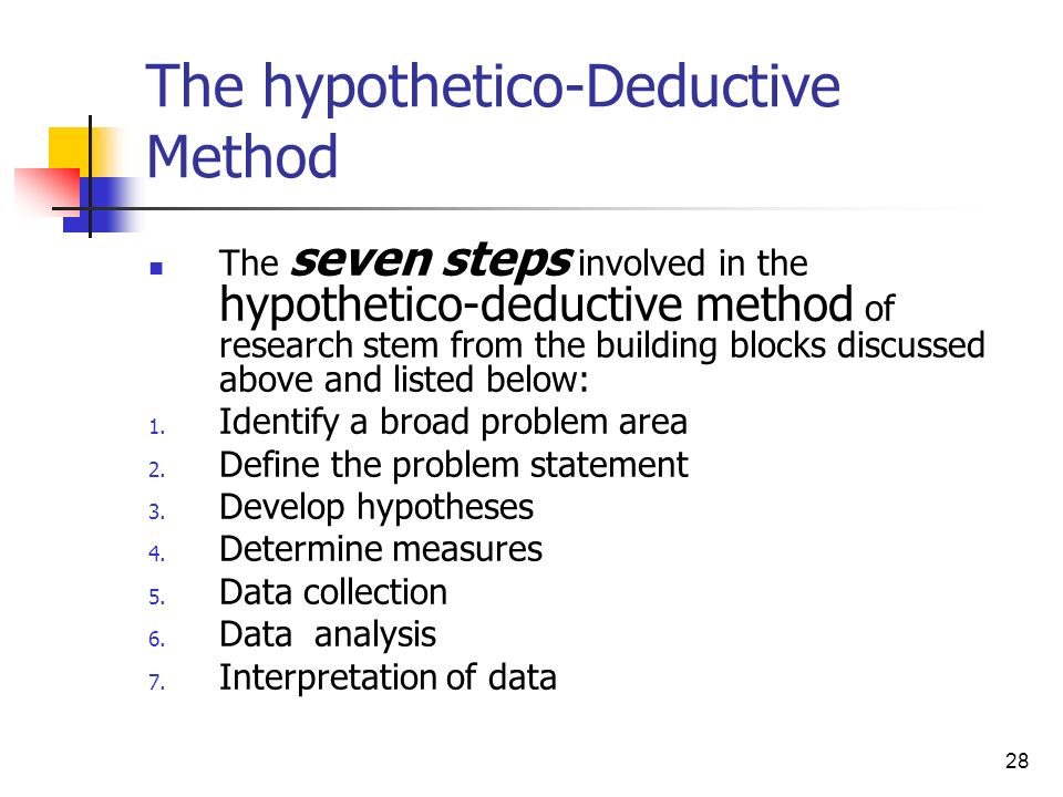The hypothetico-Deductive Method