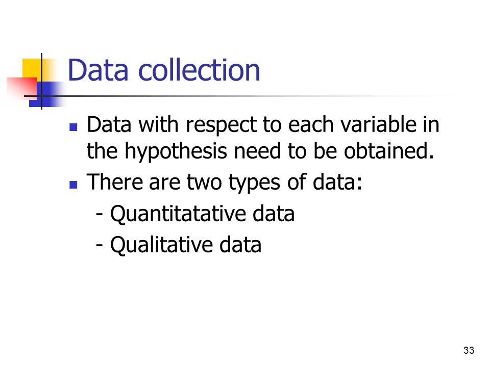 Data collection Data with respect to each variable in the hypothesis need to be obtained. There are two types of data: