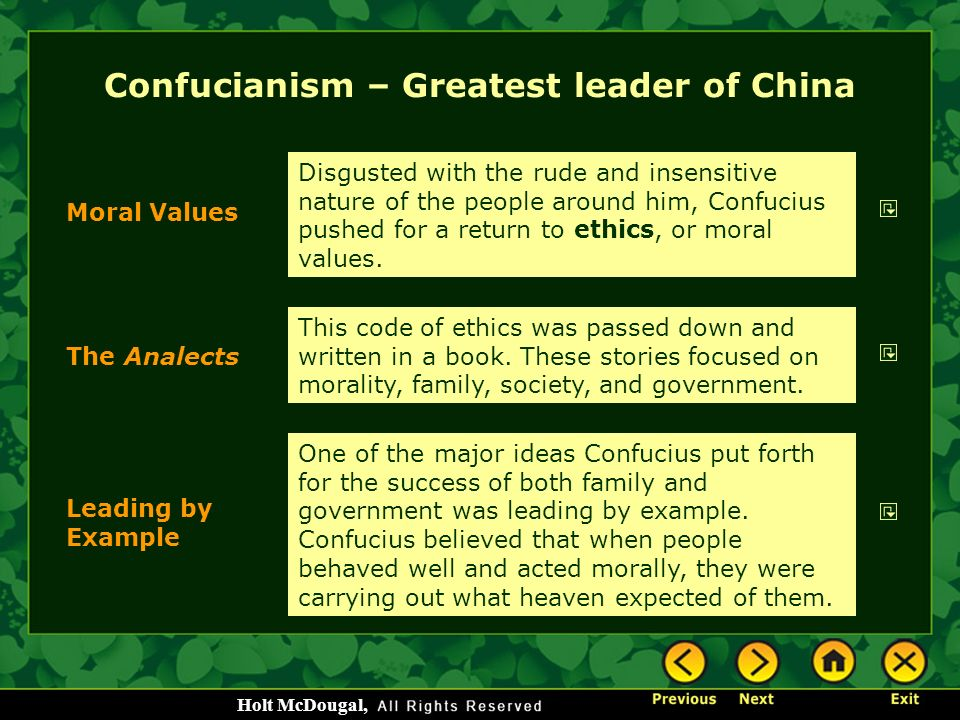 Confucianism – Greatest leader of China