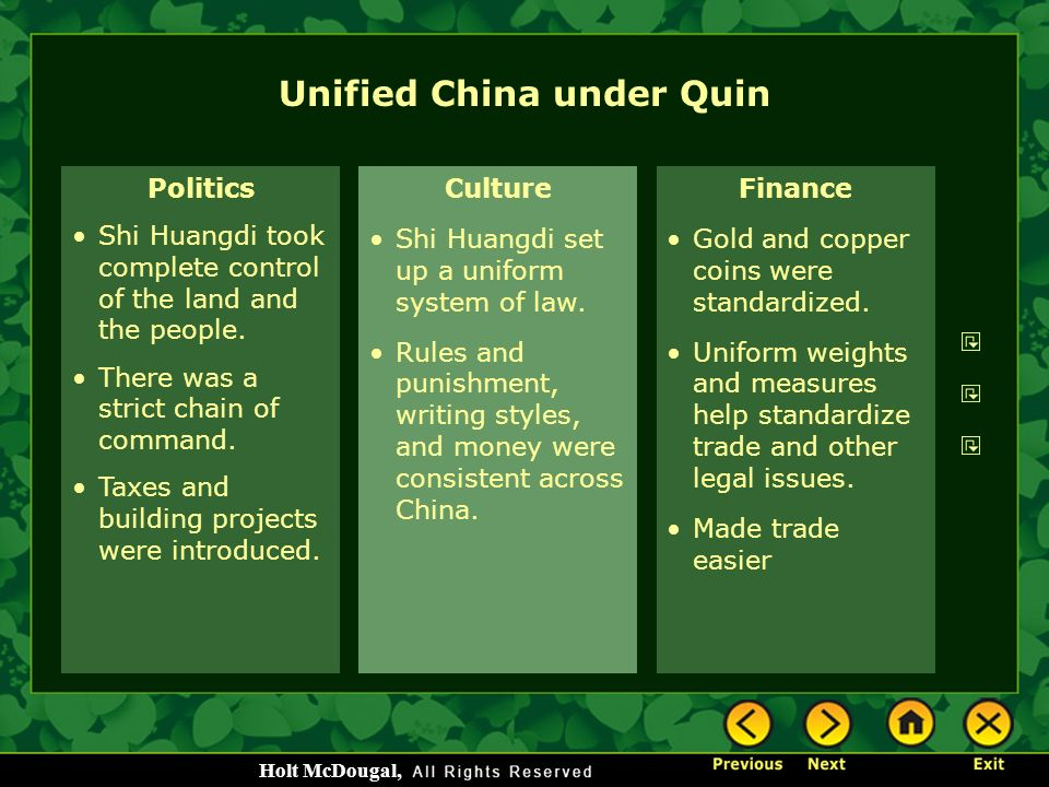 Unified China under Quin