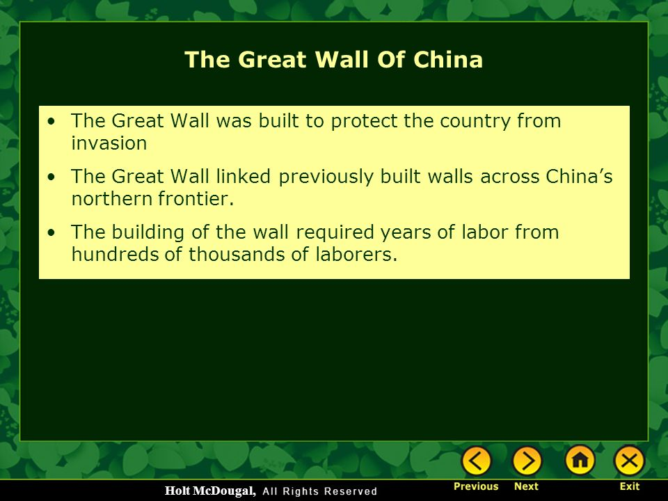 The Great Wall Of China The Great Wall was built to protect the country from invasion.
