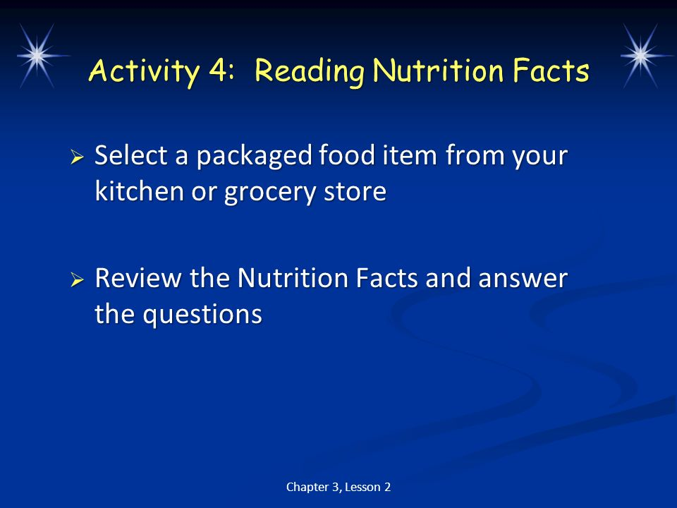 Activity 4: Reading Nutrition Facts