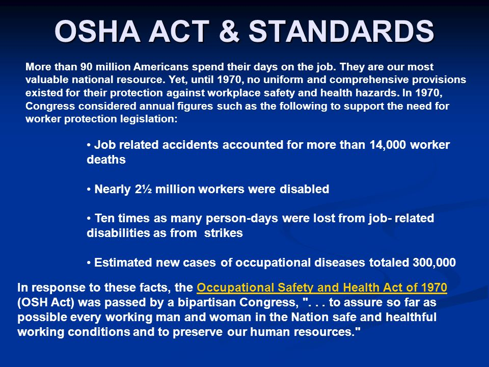 Intro To Osha Act Standards Ppt Download