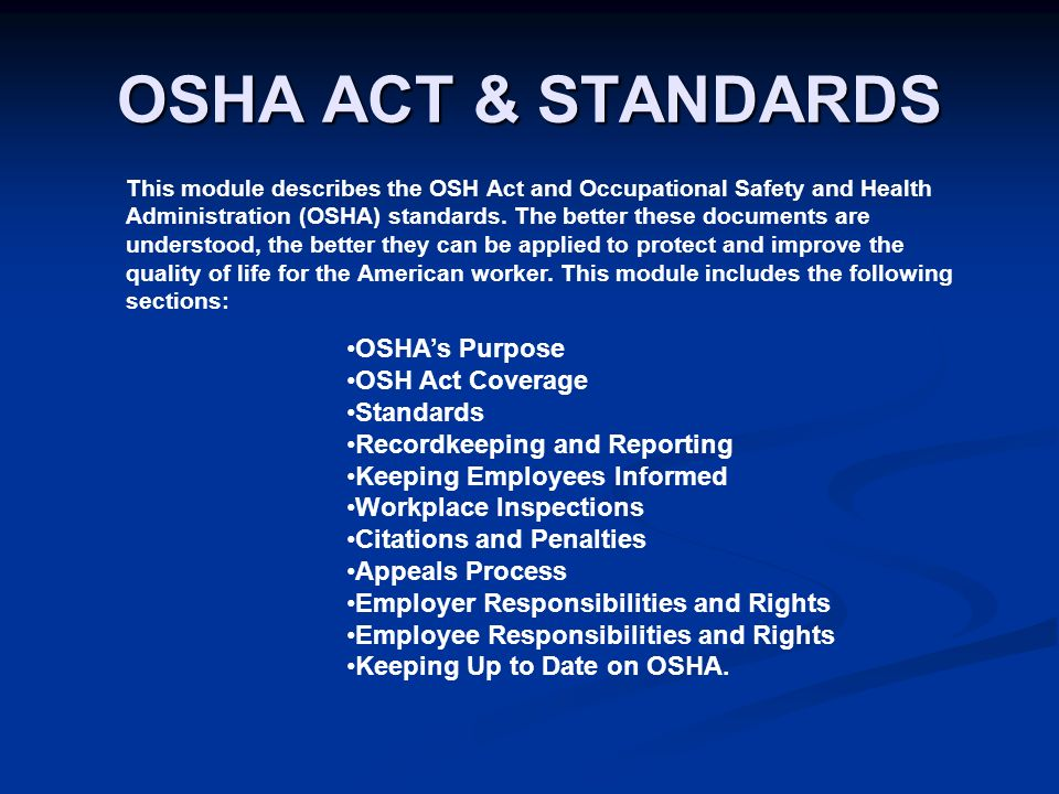 Occupational Safety And Health Act Of 1970 Definition