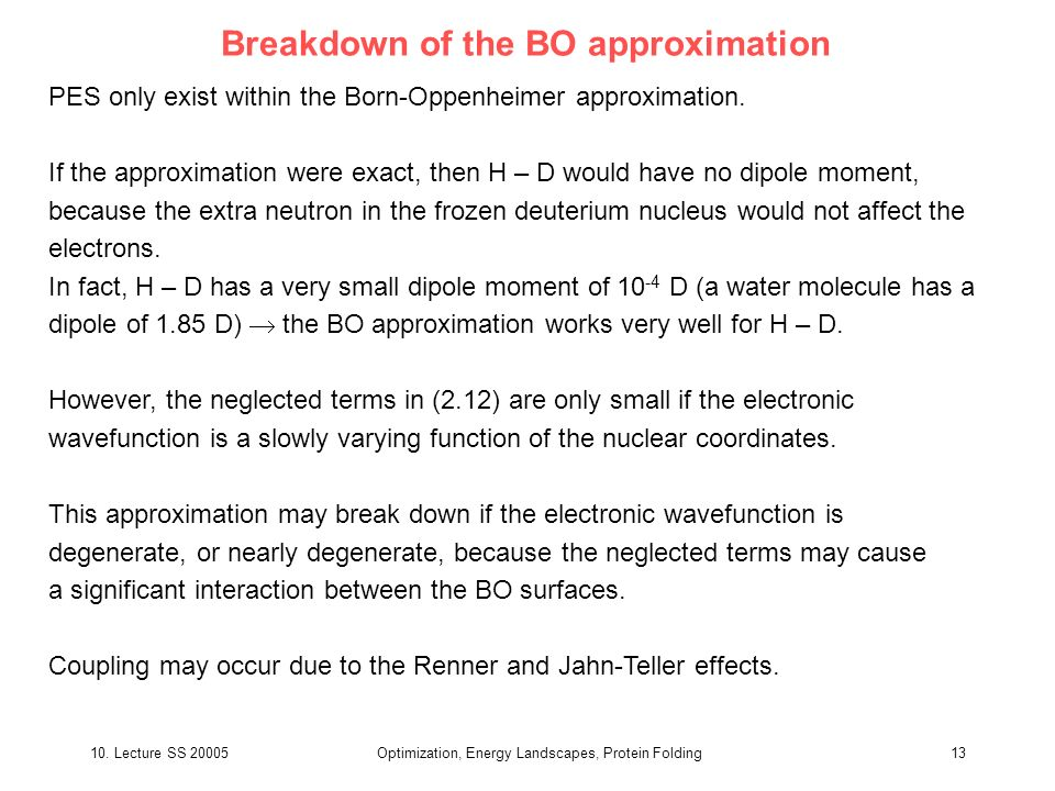 Breakdown of the BO approximation