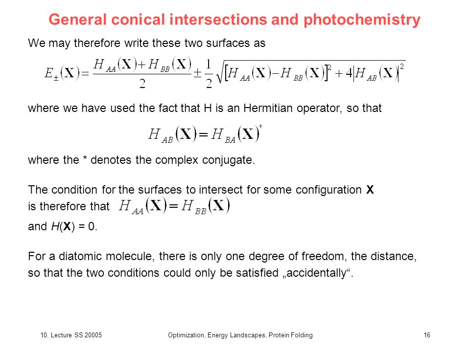 General conical intersections and photochemistry