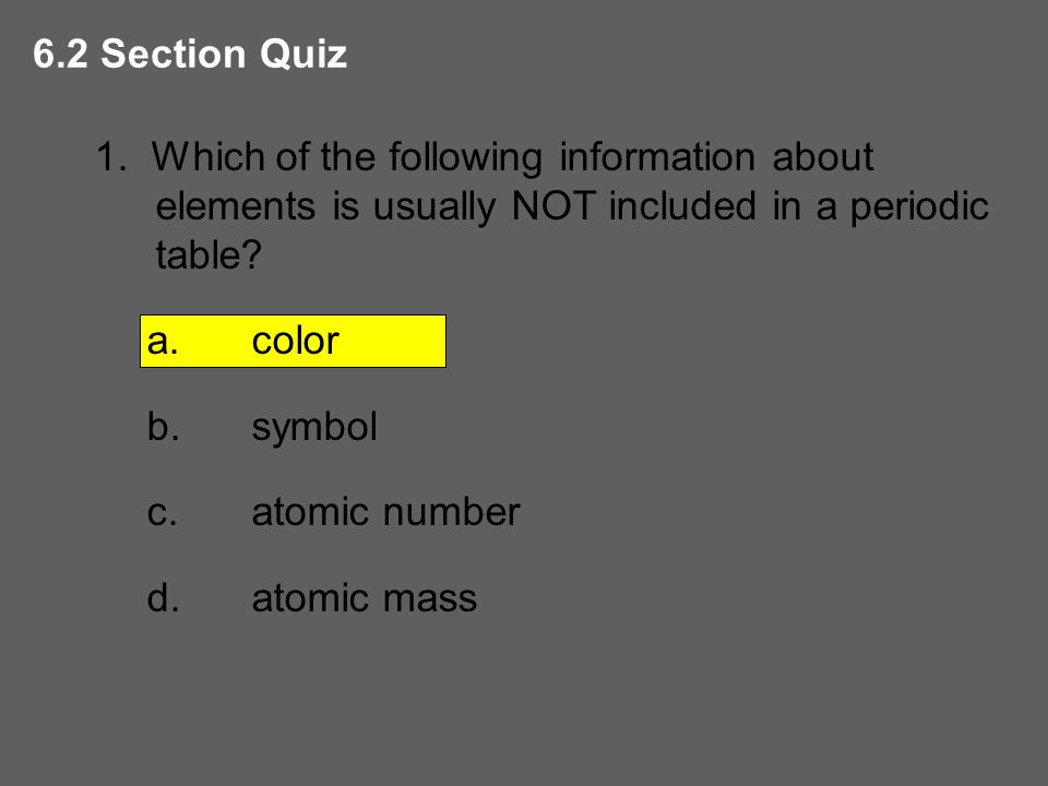 Squares in the periodic table ppt download periodic table color symbol atomic number atomic mass 62 section quiz 1 which of the following information about elements is usually not included urtaz Gallery
