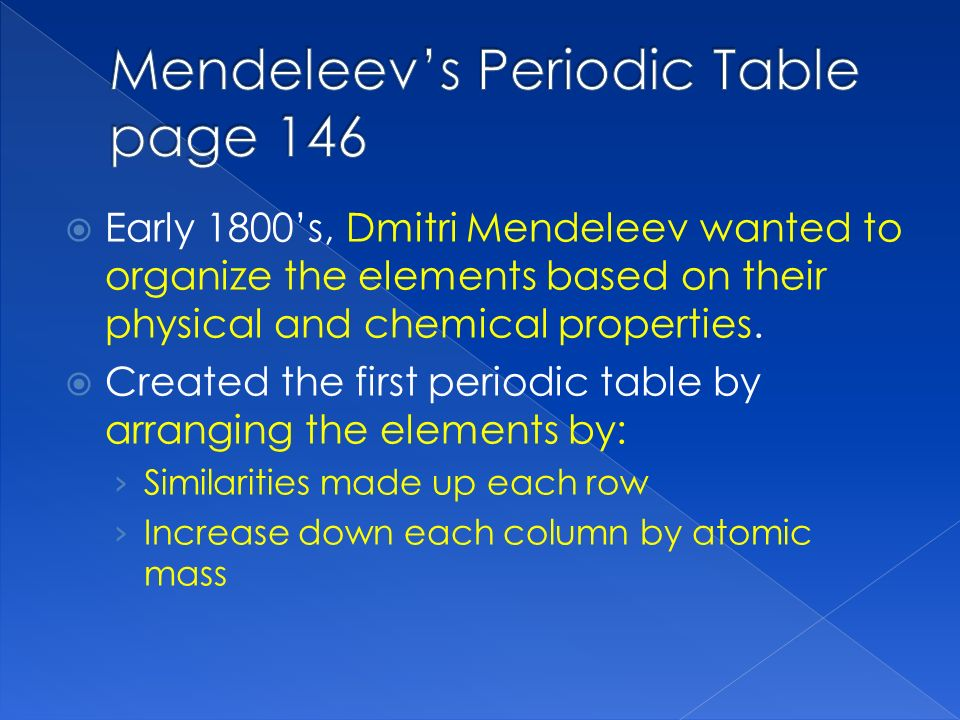 Unit 5 atomic structure and the periodic table of elements ppt by atomic mass mendeleevs periodic table page 146 urtaz Images