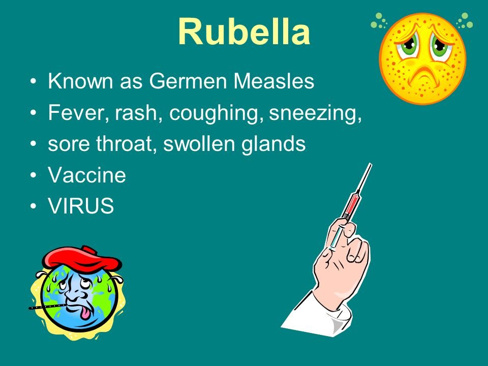 Rubella Known as Germen Measles Fever, rash, coughing, sneezing,