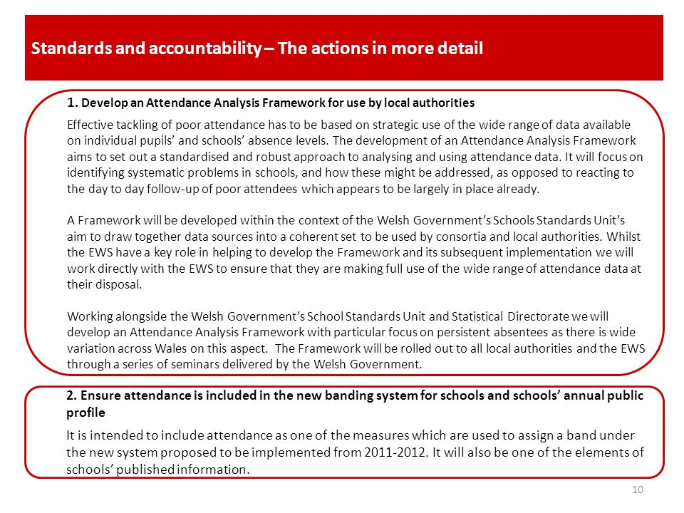 Standards and accountability – The actions in more detail