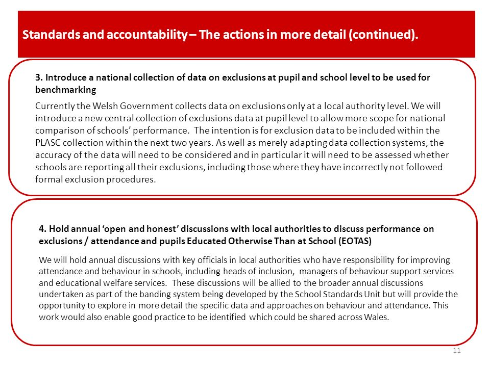 Standards and accountability – The actions in more detail (continued).