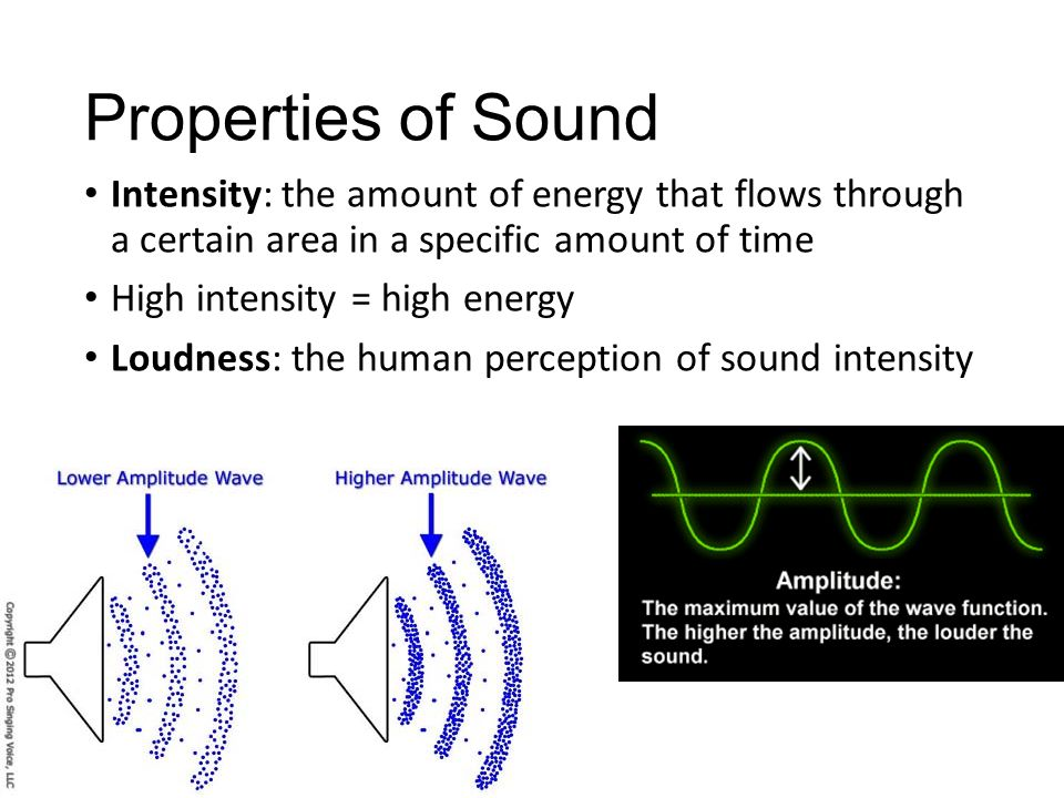 Properties of Sound Intensity: the amount of energy that flows through a certain area in a specific amount of time.