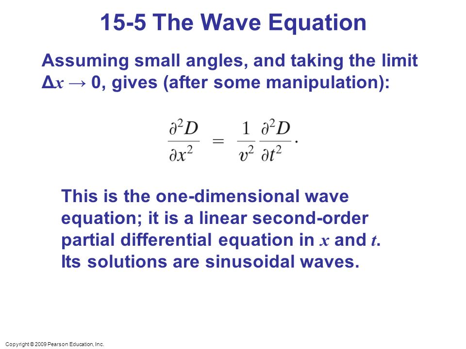 15-5 The Wave Equation Assuming small angles, and taking the limit Δx → 0, gives (after some manipulation):