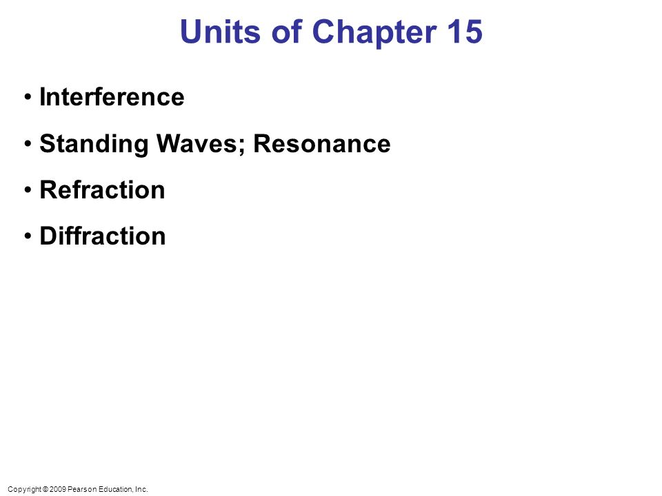 Units of Chapter 15 Interference Standing Waves; Resonance Refraction