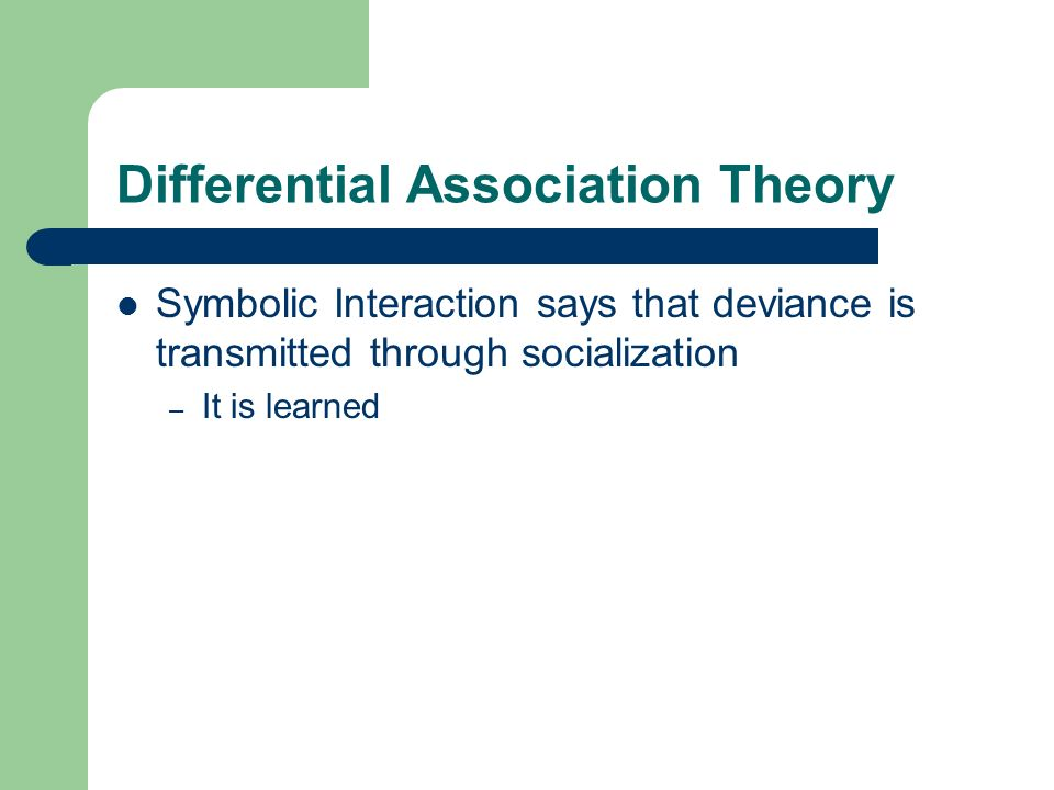 differential association In 1939 edwin h sutherland, an american sociologist, who was known as one of the most influential criminologists of the 20th century, published the principles of his differential association theory, according to which people commit crimes based upon their association with other people.