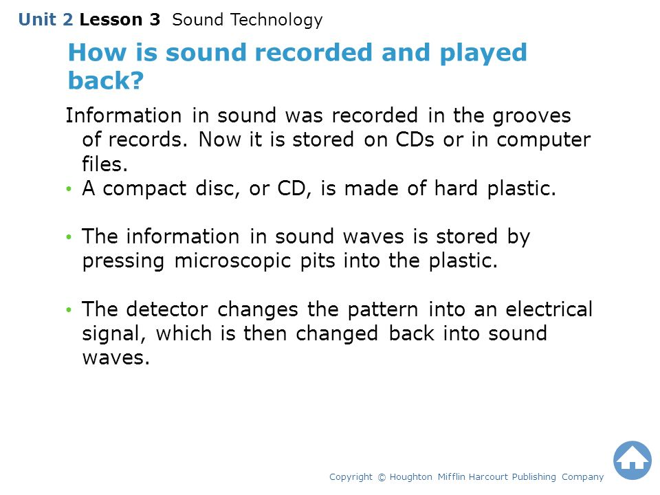 How is sound recorded and played back