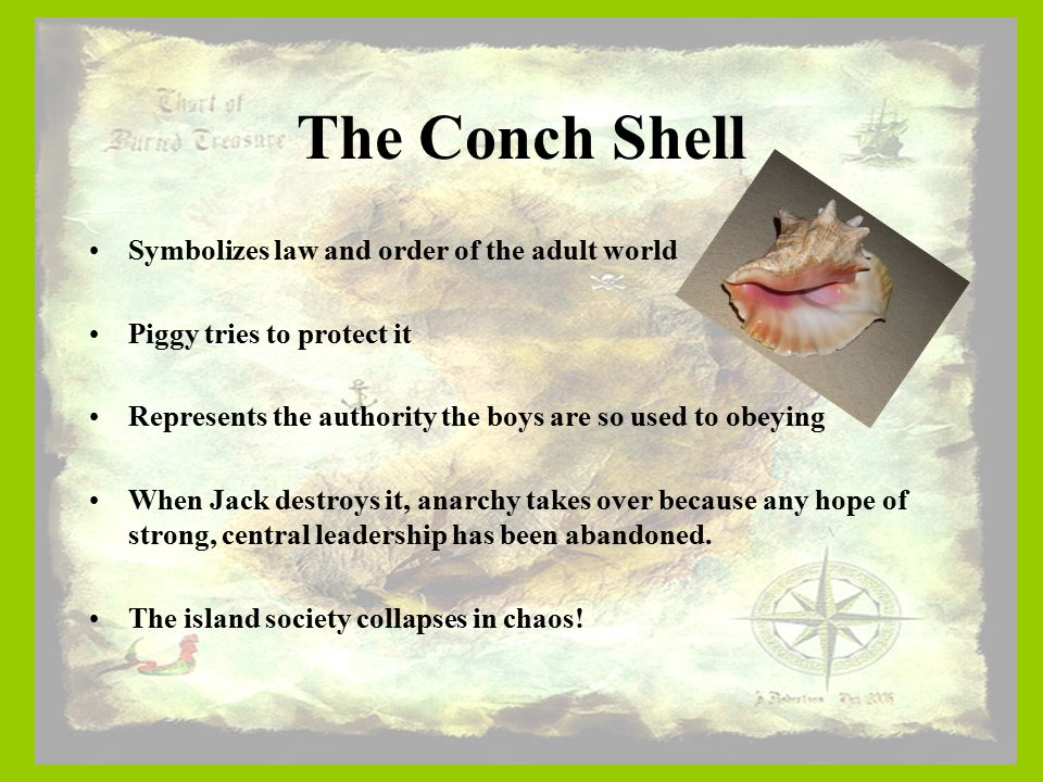 lord of the flies essay on symbolism of the conch Symbols are important to many people because it is a representation of their individuality in the novel lord of the flies by william golding, the conch shell is a representation of the leadership in society the conch shell is used to speak during the meeting on the island he who holds the conch.