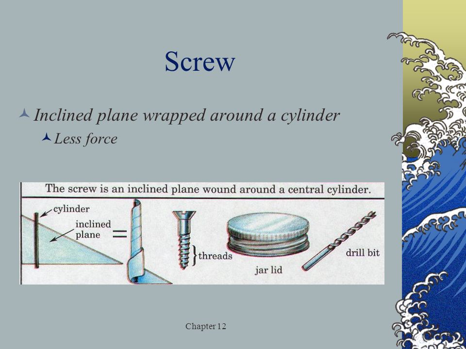 Screw Inclined plane wrapped around a cylinder Less force Chapter 12