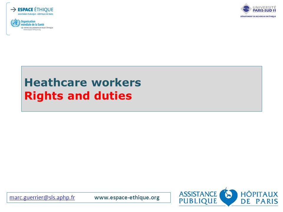 Heathcare workers Rights and duties