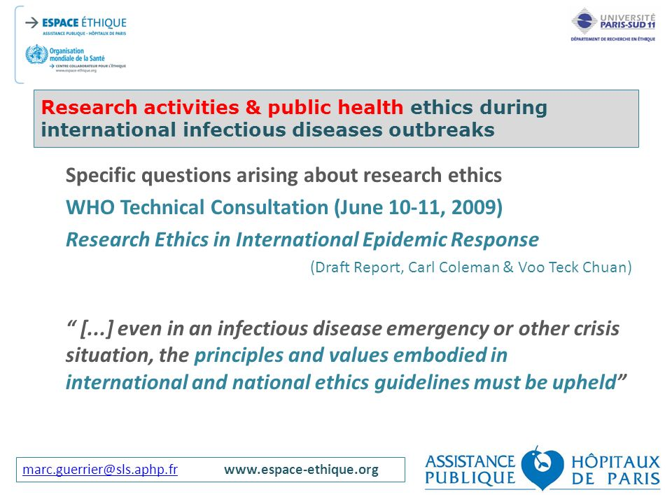 Specific questions arising about research ethics