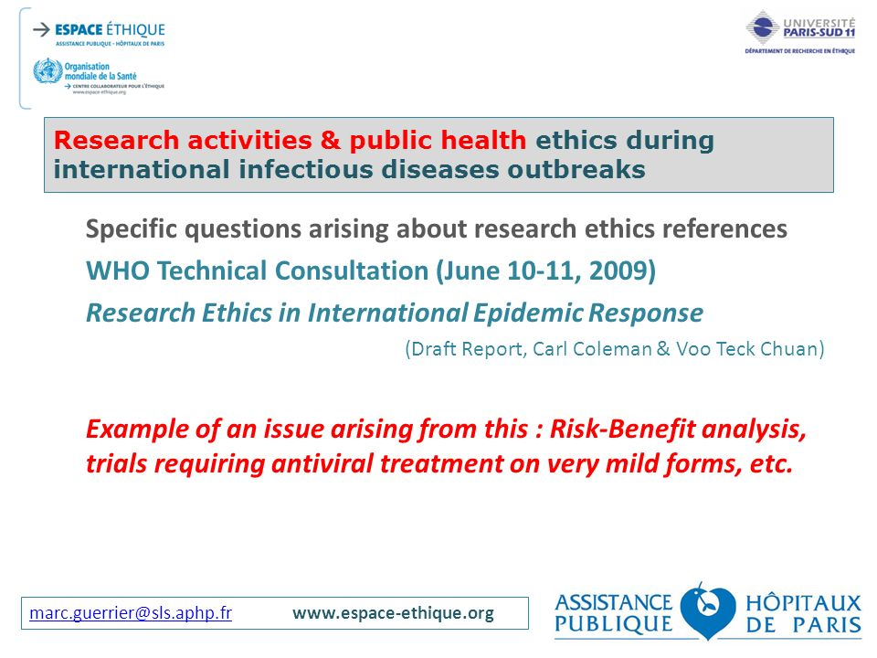 Specific questions arising about research ethics references