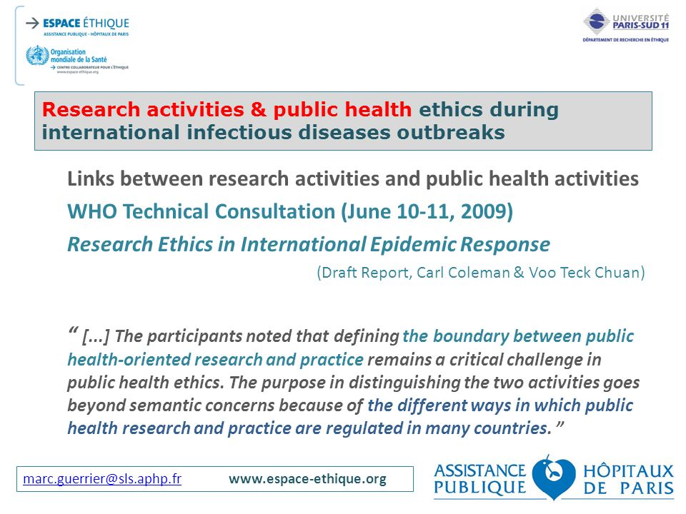 Links between research activities and public health activities