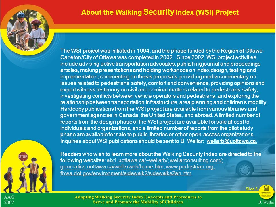 About the Walking Security Index (WSI) Project
