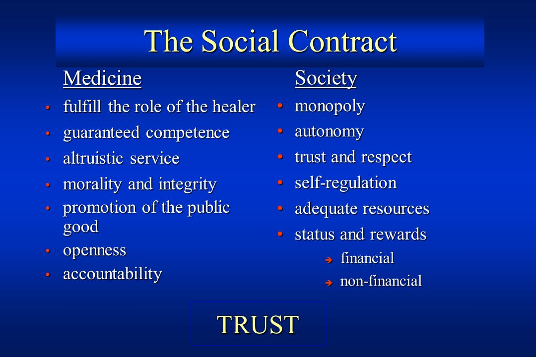 The Social Contract TRUST Medicine Society