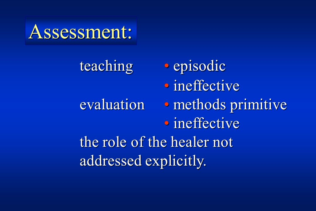 Assessment: teaching • episodic • ineffective