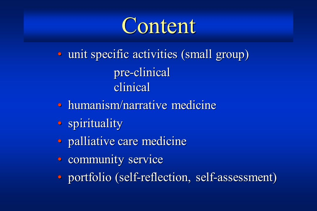 Content unit specific activities (small group) pre-clinical clinical