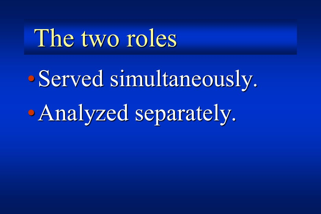 The two roles Served simultaneously. Analyzed separately.