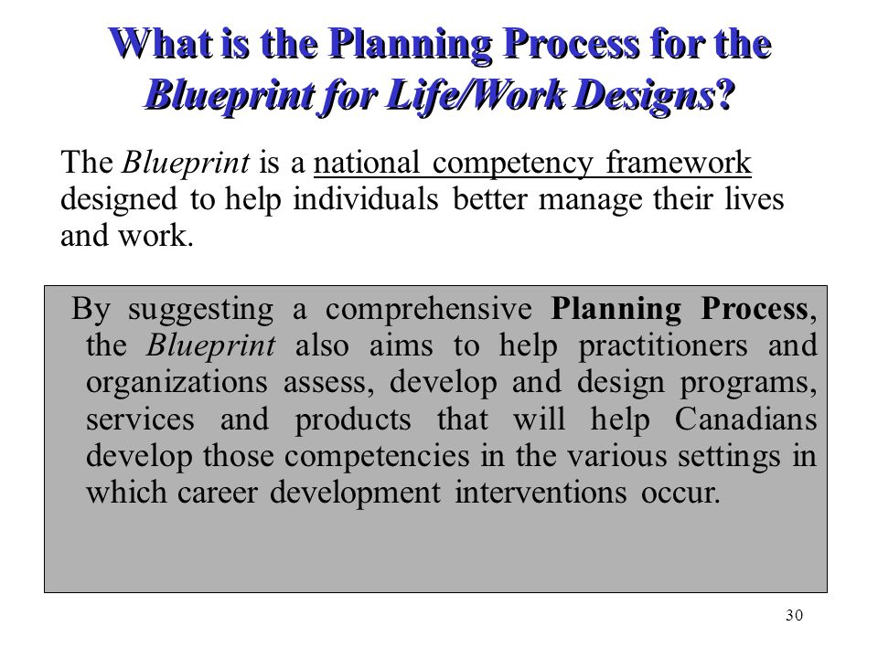 What is the Planning Process for the Blueprint for Life/Work Designs