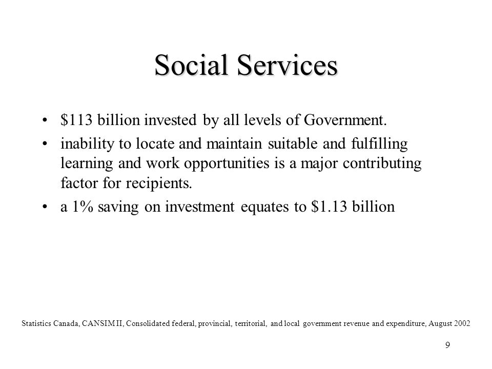 Social Services $113 billion invested by all levels of Government.