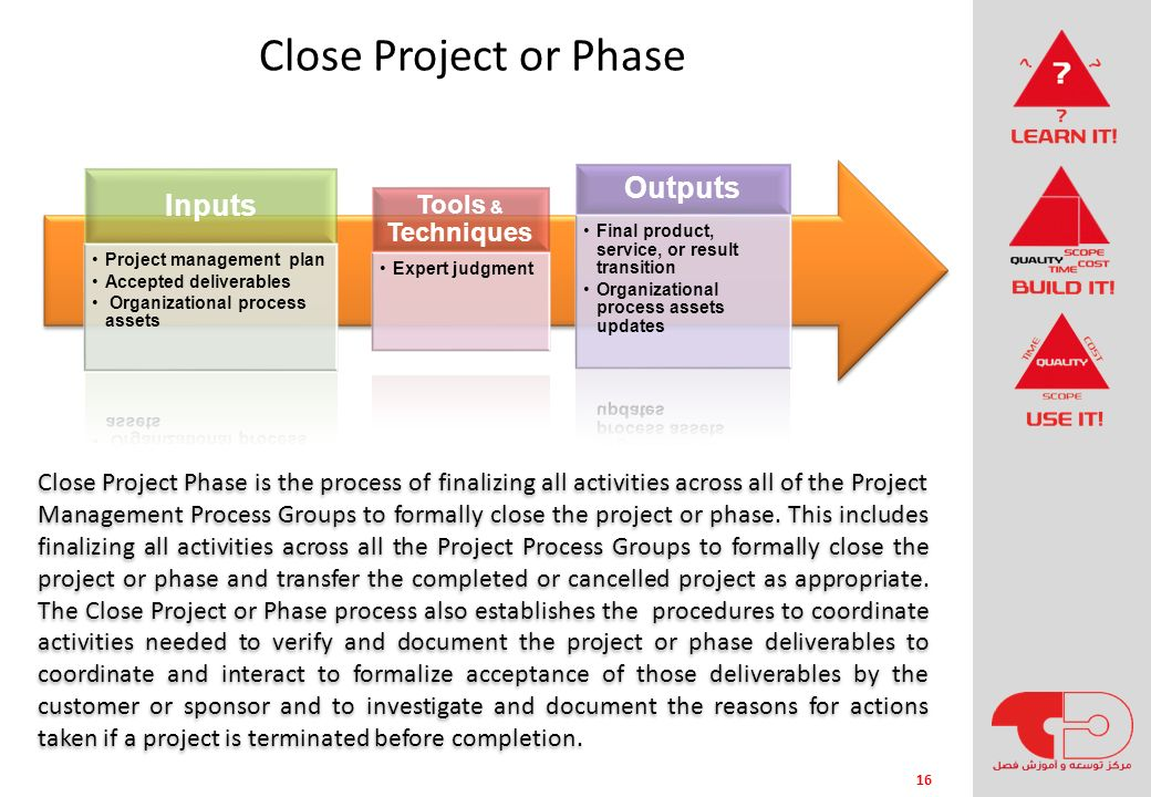 Close Project or Phase Outputs Inputs Tools & Techniques