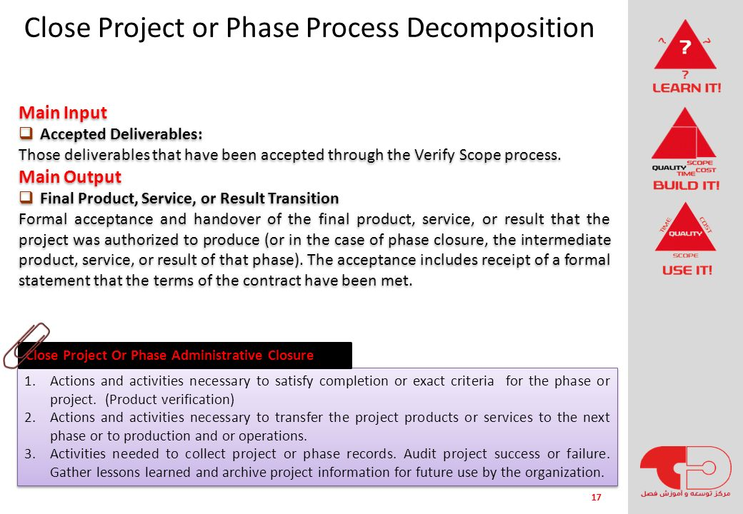 Close Project or Phase Process Decomposition