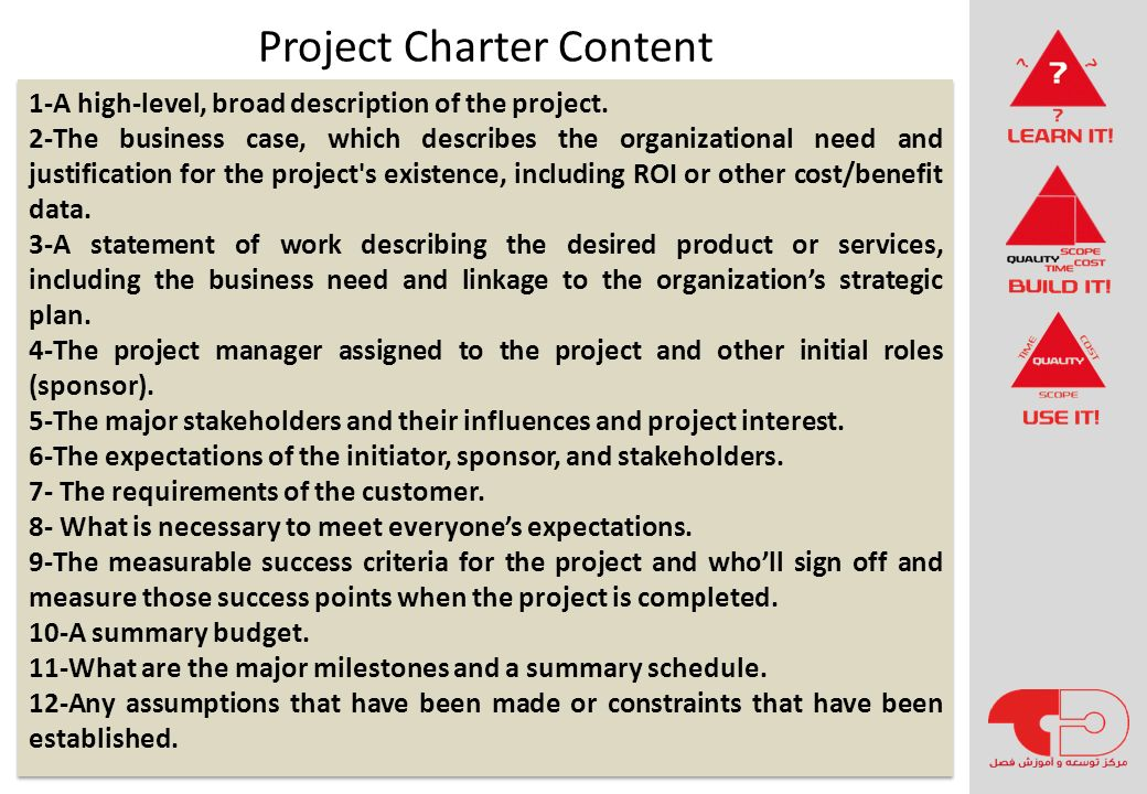 Project Charter Content