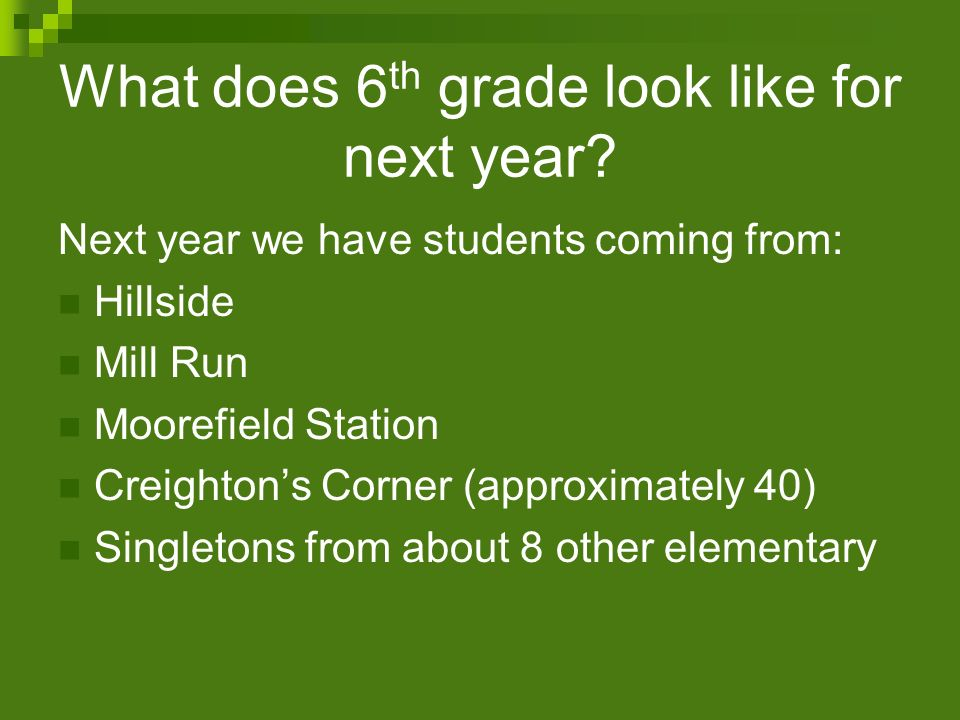 What does 6th grade look like for next year