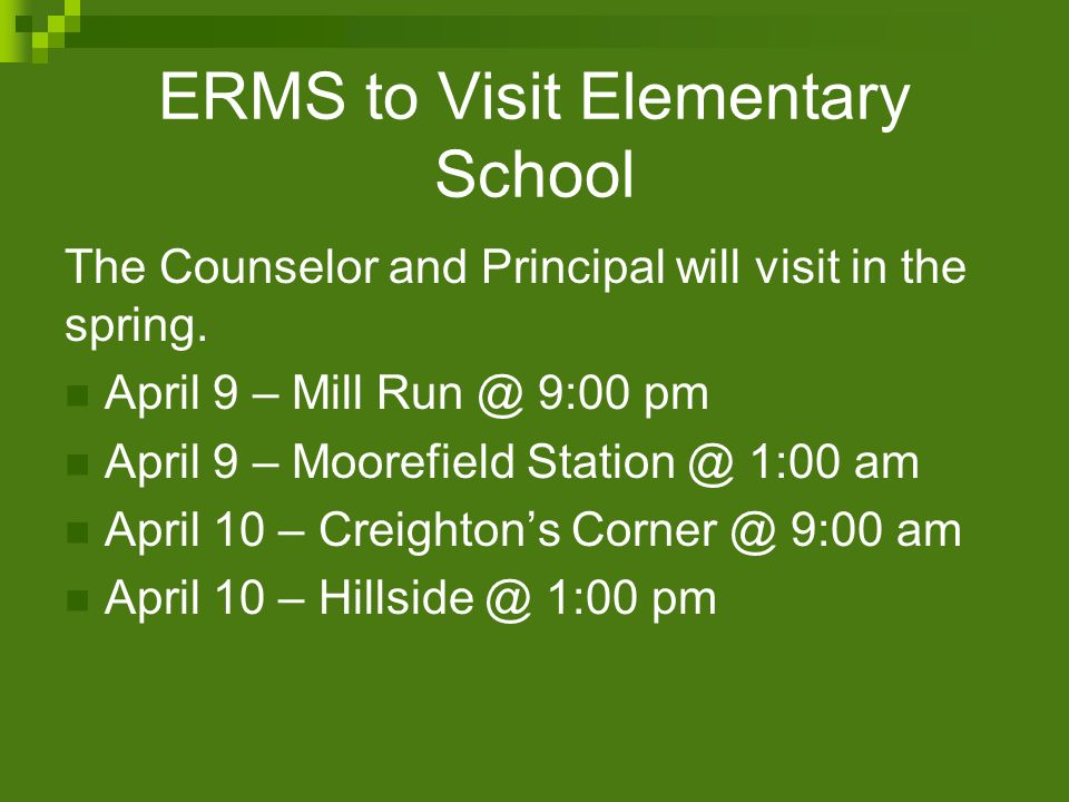 ERMS to Visit Elementary School