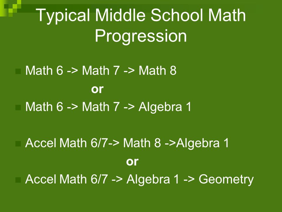 Typical Middle School Math Progression