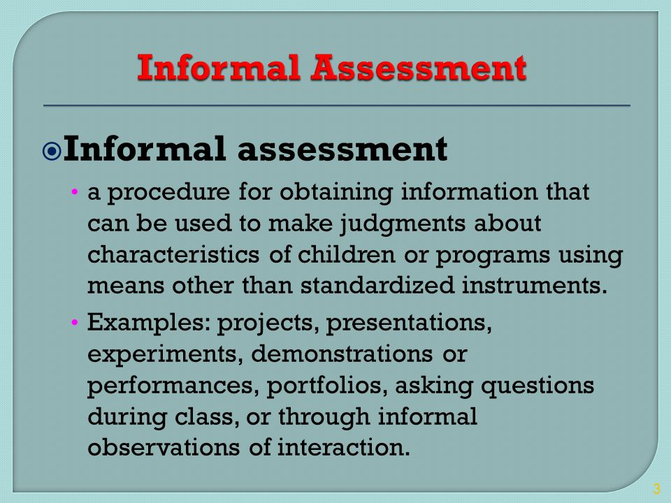 formal assessment examples