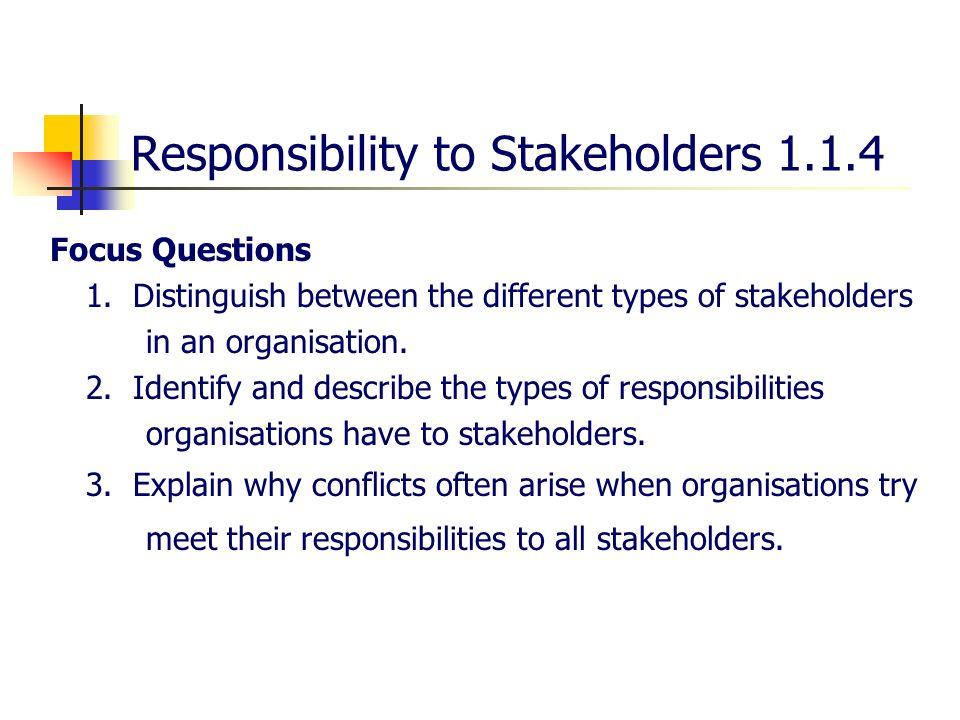 explain the responsibilities of an organisation