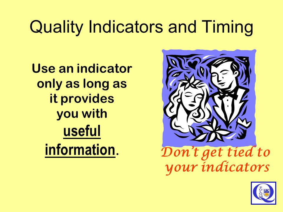 Quality Indicators and Timing