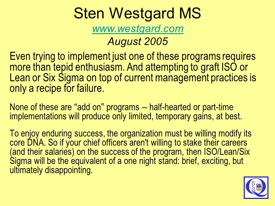 Sten Westgard MS   August 2005