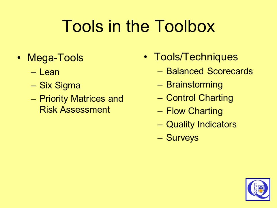 Tools in the Toolbox Mega-Tools Tools/Techniques Lean